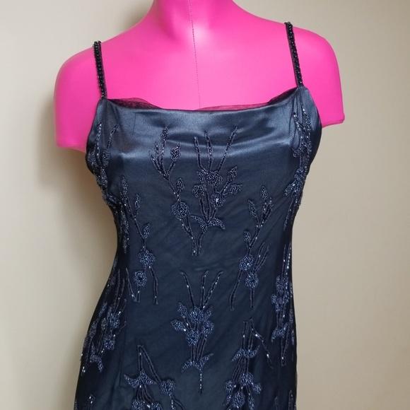 Bob Mackie Flower Motif Mesh Beaded Gown Dress
